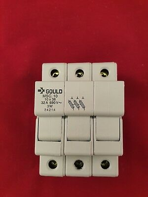 MSC10 Gould 3 Pole  DIN Rail Fuse Holder 10 x 38 Fuses