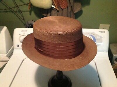 362ddc7b310 Vintaged 6 7 8 Dobbs Straw Fedora Hat Fifth Ave New York Awesome Condition