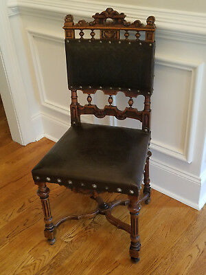 SET of 8 FRENCH RENAISSANCE CARVED LEATHER CHAIRS, 1890's Antique Reproductions