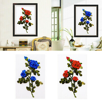 Ribbon Embroidery Kit for Beginner Flower Design DIY Home Wall Decoration