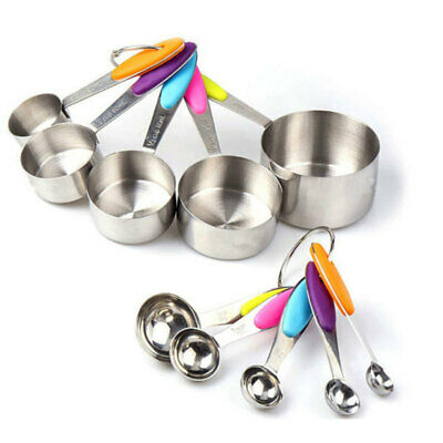 10-piece 18/8 Measuring Cups and Spoons Set Ejoyous Stainless Steel Kitch SHN