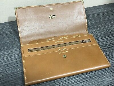 Vintage Gucci Brown Leather Passport Travel Wallet Organizer Sterling Silver