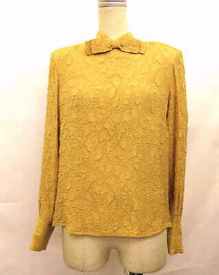 bde8fffefd277 100%Auth CHANEL Ribbon 100% Silk Shirt Blouse Tops Yellow Size 38 Made In