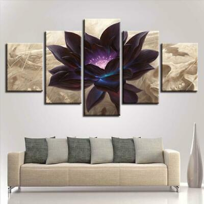 39785177858 Framed Home Decor Vintage Black Lotus Flower Canvas Print painting Wall Art  5PCS