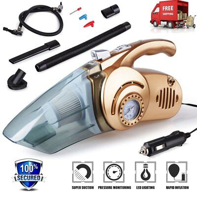 Portable 4 in 1 Car Vacuum Cleaner Handheld Car Inflatable Pump Air CompressorE8