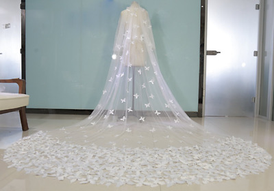 2 Tier Wedding Veils White/Ivory Bridal Lace Appliques Butterfly Cathedral+Comb
