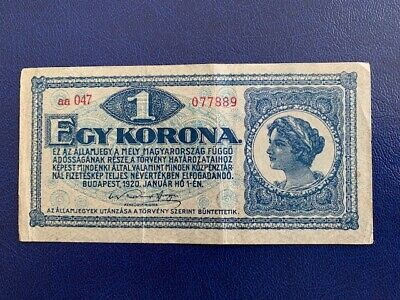 Hungary 1 Korona 1920 -  Very Fine Plus (3+)