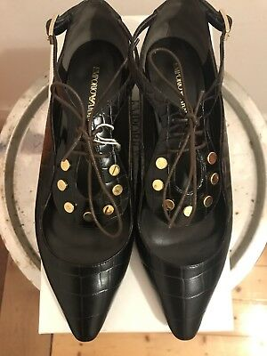 🖤Emporio Armani Shoes Lace Up Cut out Loafer Real Leather Size EU 39🖤