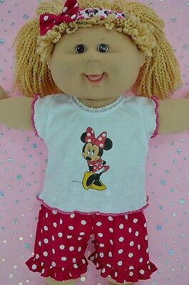 "Play n Wear Doll Clothes To Fit 16"" Cabbage Patch POLKA DOT PANTS~TOP~HEADBAND"