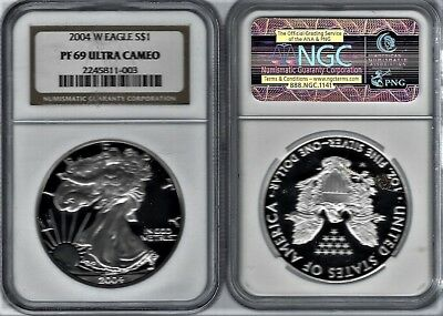 2004-W 1 oz  Proof American Silver Eagle Coin GRADED BY NGC PF-69 ULTRA CAMEO