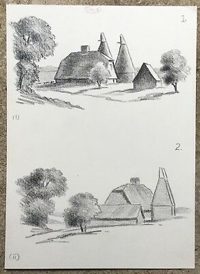 Kent Oast Houses Pair Of Drawings Ray Campbell Smith Frsa  25X18 Cm Book Illus.