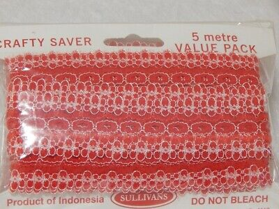 Eyelet Lace 5m Pack Flower Edge Red *Volume Discounts Available*