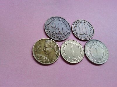 5 Yugoslavia Coins Collection Set Bulk LotFrom Year 1955 To 1983 (R779)