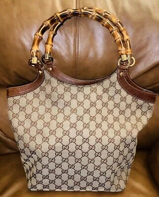 087c9b1c1342 PRE-OWNED GUCCI BROWN Gg Canvas/ Leather Bamboo Top Handle Tote Bag ...