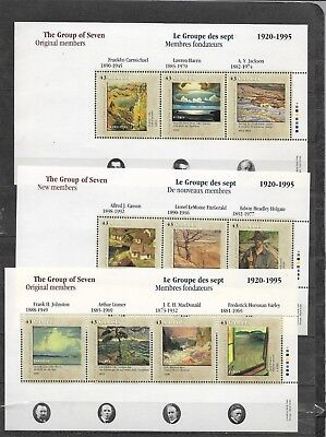 pk41839:Stamps-Canada #1559-1561 Group of Seven Set of Sheets - MNH