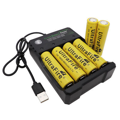 6x Li-ion 18650 Battery 9800mAh Rechargeable Flat Top+USB Charger for Flashlight