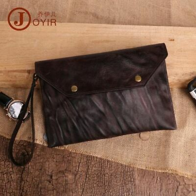 Tanned Real Leather Handmade Mens Clutch Bag Multi-card Envelope Wallet Ipad Bag