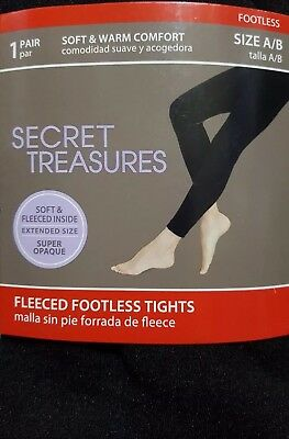 b7ef4d30dc3ad NEW SECRET TREASURES LADY'S FLEECE SEAMLESS SUPER OPAQUE LEGGGING size A/B  BLACK