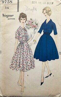 Vintage Rare 1950's VOGUE Elegant SHIRT-WAIST DRESS Sewing Pattern (V9758)