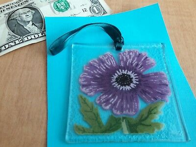 """Peggy Karr fused art glass Ornament 3"""" Square Signed"""