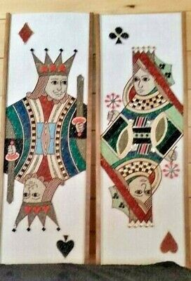 Vtg Mcm King & Queen Handmade Glass Gravel Tile Mosaic Wall Art Panels Pair Of 2