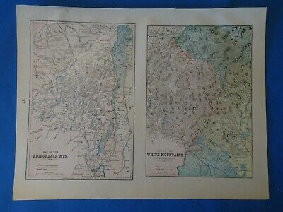 Vintage 1902 ADIRONDACK WHITE MOUNTAINS Map Old Antique Original Atlas Map 22019