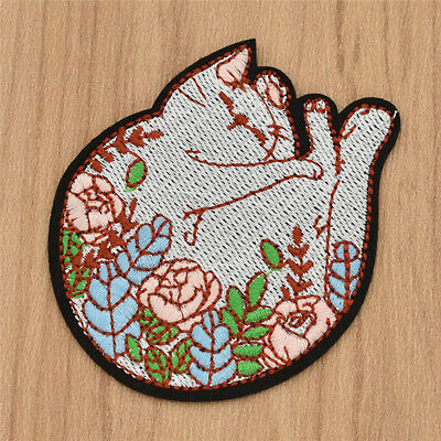 DIY Flower Sleeping Cat Patch Iron On Badge Handcrafts Applique for Sewing 1pc