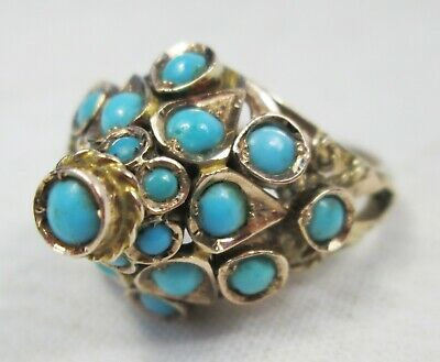 Stunning Art Deco Antique 14ct Gold & Persian Turquoise Statement Ring Size L