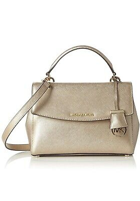 296777c3bf08 MICHAEL KORS Ava Extra-Small Saffiano Leather Crossbody PALE GOLD NWT  32F5MAVC1M
