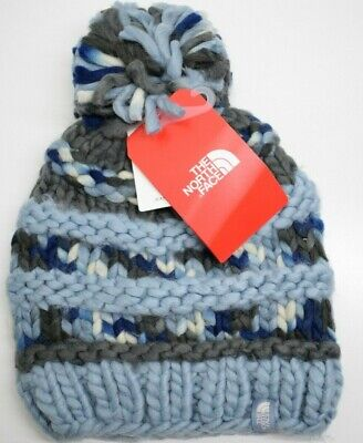 9a214b55a7ab3 THE NORTH FACE Unisex Nanny Knit Beanie Pom Pom Hat One Size Blue ...