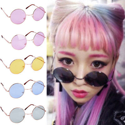 Large Oversized Big Round Metal Frame Color Lens Round Circle Eye Glasses Nuovo
