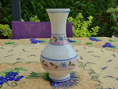 Vase Ceramique Faience Decor De Fleur Signe Numerote 6 D. Main