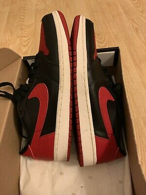 5eb5b6719f4 Nike Air Jordan 1 Retro Low OG Bred Banned Black Red 9.5 Used 705329-001