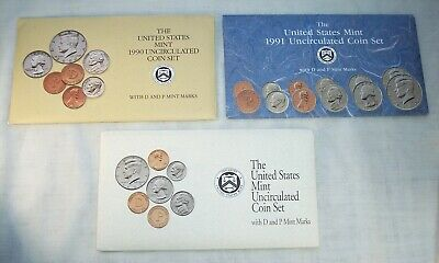United States Mint 1990,1991 & 1992 Uncirculated P And D Coin Sets