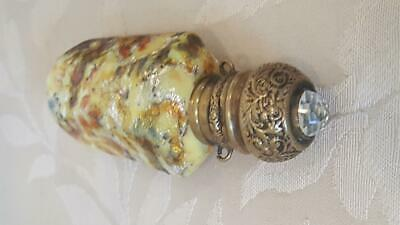 Antique Jeweled Venetian Adventurine Art Glass Perfume / Scent Bottle