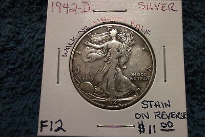 1942 Denver (Fine Condition) Walking Liberty Silver Half  ***stain On Reverse***