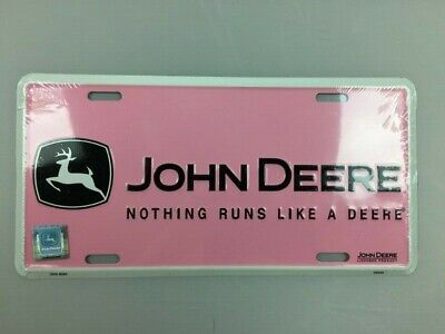 "John Deere Pink Black White Logo Vanity Plate/Sign 12""x6"" METAL NEW (Unopened)"