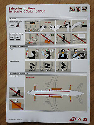 Swiss Airbus Bombardier Safety Card