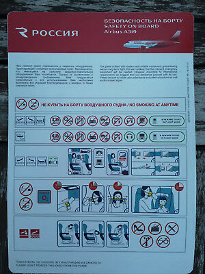 Rossiya Russian Airlines Safety Card