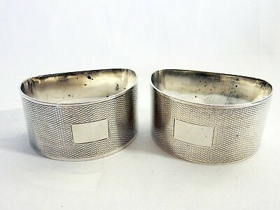 Antique Art Deco 1947 Pair of Sterling Solid Silver Napkin Rings Engine Turned