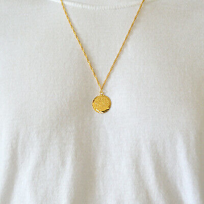 """Coin Necklace Pendant Womens Middle East Arabic Jewelry 24k Gold Plated 15 - 24"""""""