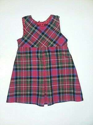 1d282a5fa Lands End Toddler Girls Sz 2T Red Blue Green Plaid Dress Winter Fall Pleated