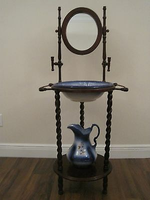 Antique Wooden Wash Basin Stand With Mirror & Athena Usa Water Pitcher