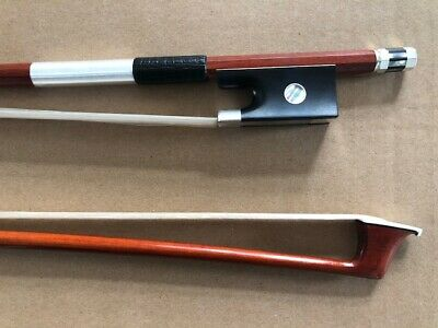 Professional Violin Bow 4/4 size silver mounted ebony frog