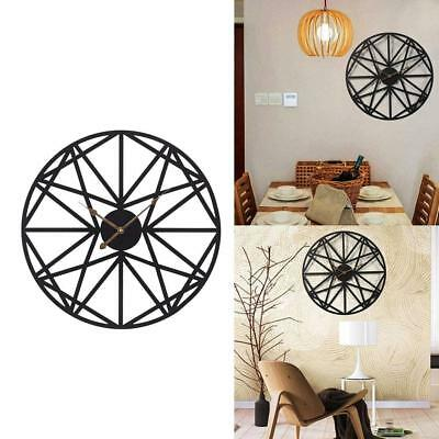 Large Wall Clocks Metal Decorative Round 20 Inch 3D Hollow Out Wrought Iron With
