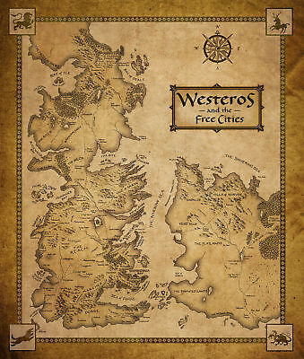 Game Of Thrones Houses Map Westeros And Free Cities Silk Poster 24x36 24x43