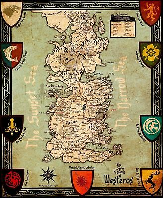 Game Of Thrones Houses Map Westeros Art Silk Poster 24x36 24x43
