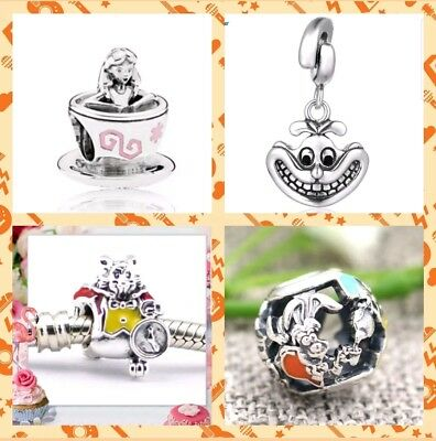 Alice In Wonderland Charms Teacup Openwork Mad Hatter White Rabbit Cheshire Cat