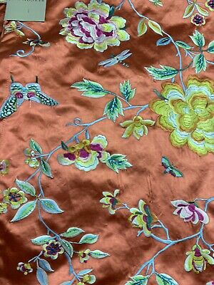 Beacon Hill Robert  Allen Peony King Scarlet  Floral Embroidery Cotton Silk