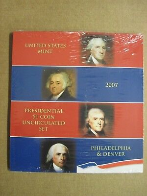 2007 US MINT PRESIDENTIAL P & D UNCIRCULATED 8-COIN DOLLAR SET sealed New NIP